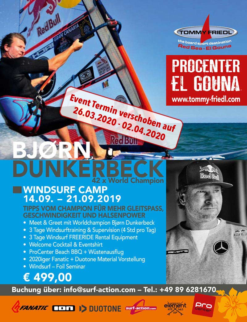 WINDSURF CAMP with BJØRN DUNKERBECK, 42 times World Champion